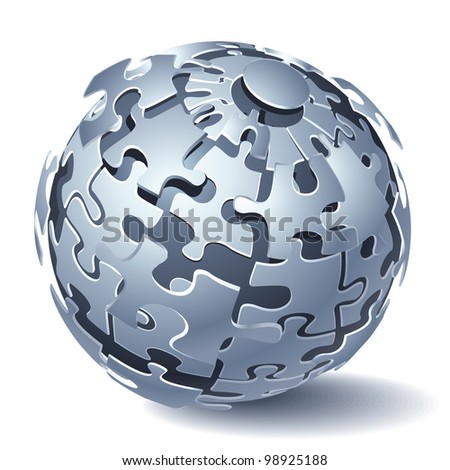 Jigsaw Puzzle Sphere. Dynamic Explosion. Rasterized Version - stock photo