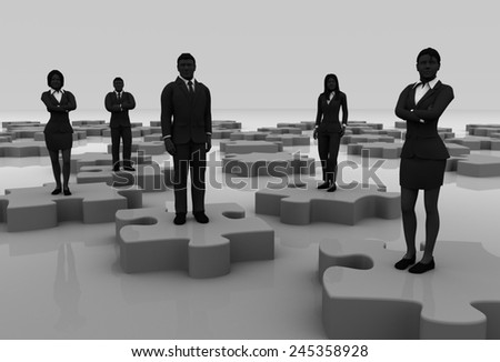 Jigsaw puzzle team, A successful team coming together like pieces of a jigsaw puzzle. - stock photo