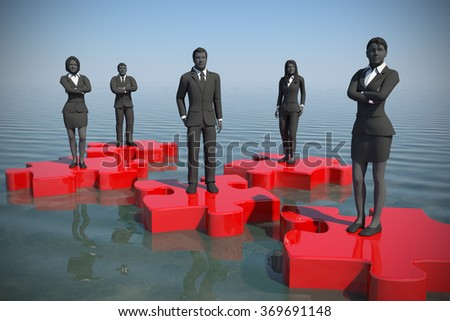 Jigsaw puzzle team on water at noon. A successful team coming together like pieces of a jigsaw puzzle on an ocean of water at noon. - stock photo