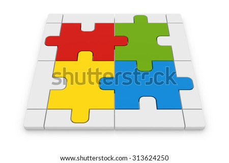 Jigsaw puzzle , This is a computer generated and 3d rendered image.