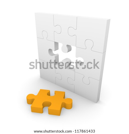 Jigsaw puzzle wall with gap. 3d rendering.