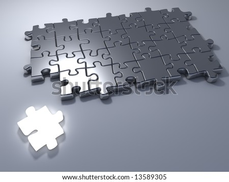 Jigsaw puzzle with an outstanding bright white last one piece - 3d render