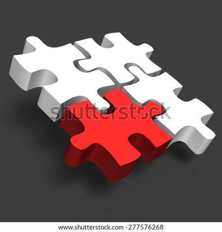 jigsaw puzzle with one red and white 3d puzzle business concept - stock photo