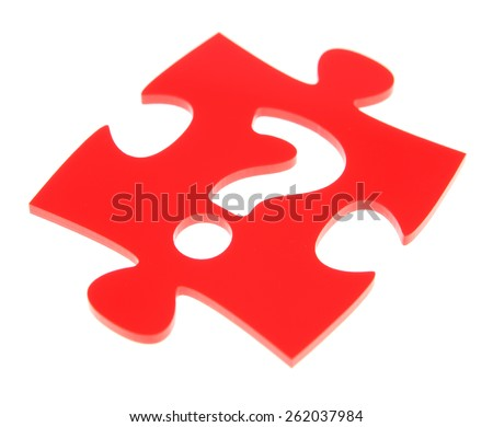 Jigsaw puzzle with question mark - stock photo