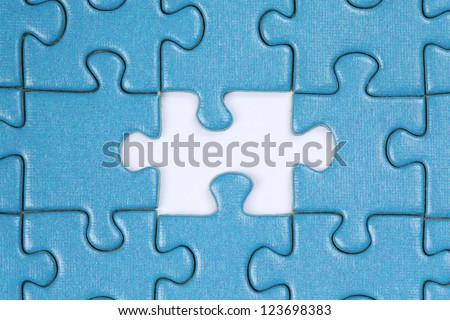 Jigsaw Puzzle with the last missing piece