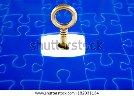 Jigsaw Puzzle with the missing piece, with a key to open