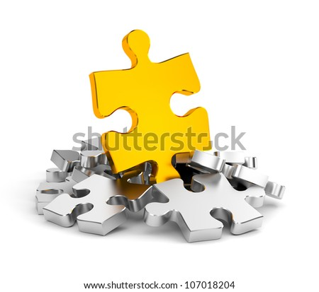 Jigsaw puzzles in gold and chrome - stock photo