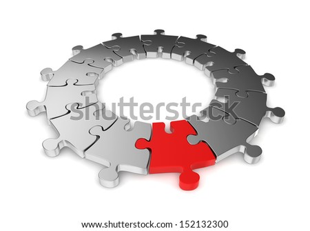 Jigsaw ring with unique one. 3d illustration on white background
