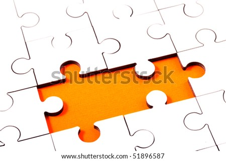Jigsaw With Pieces Missing Revealing Orange Background