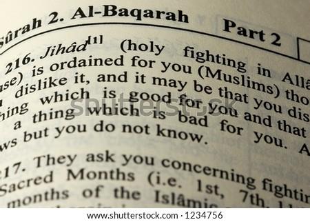 Jihad in Koran (Qur'an) - stock photo