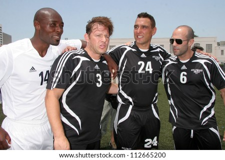Jimmy Jean-Louis and Costas Mandylor with Vinnie Jones and Jason Statham at the Soccer for Survivors Celebrity Showcase Match. Beverly Hills High School, Beverly Hills, CA. 07-22-07 - stock photo