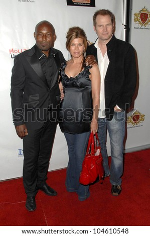 Jimmy Jean-Louis with Beth Toussaint and Jack Coleman  at the Hollyshorts Haiti Charity VIP Webisode Celebration. Kress, Hollywood, CA. 08-08-09 - stock photo