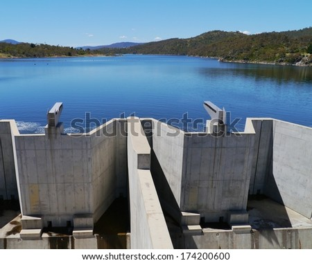 Jindabyne Dam is a dam across the Snowy River in the Snowy Mountains of New South Wales in Australia - stock photo