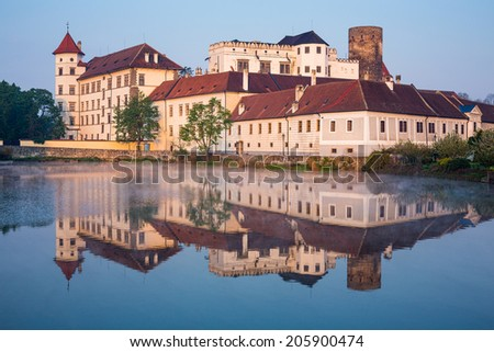 Jindrichuv Hradec castle in South Bohemia, Czech Republic in morning light - stock photo