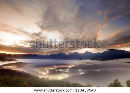 Jinlong mounain sunrise, Taiwan - stock photo