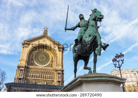 Joan of Arc in front of the Cathedral Basilica of St Augustine in Paris. - stock photo
