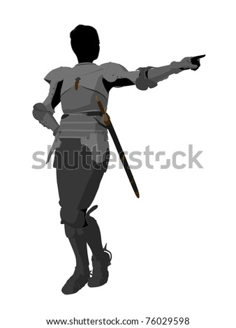 Joan of Arc silhouette on a white background