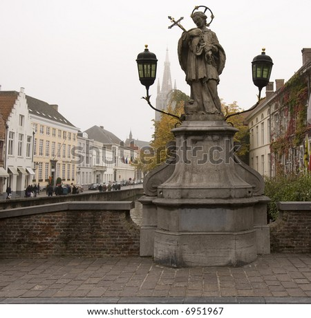 Joannes Mucomicenes Statue Bruges - stock photo