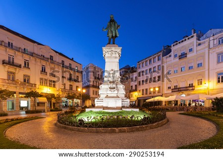 Joaquim Antonio de Aguiar monument at Largo da Portagem in Coimbra, Portugal. He was a prominent Portuguese politician. - stock photo