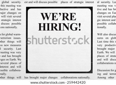 Job ad in newspaper - stock photo
