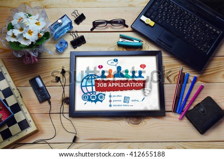Job application design concept and group of people on wooden office desk. Job application concepts for business, consulting, finance, management.