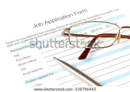 Job application form fill in by person over fifty years old. The issue of the employment of people over fifty. Human resources concept.