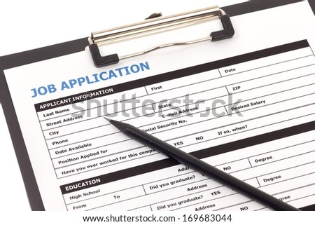 Job application form with pencil isolated on white background - stock photo