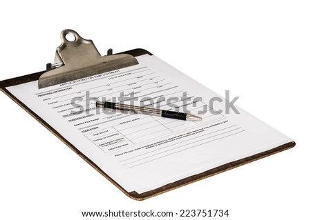 Job application on a clipboard with a pen laying on top. Waiting to be filled out by a prospective employee. Isolated on a white background with a clipping path and lots of copy-space. - stock photo