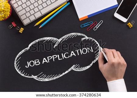 JOB APPLICATION written on Chalkboard - stock photo