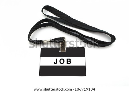 job badge with strip isolated on white background