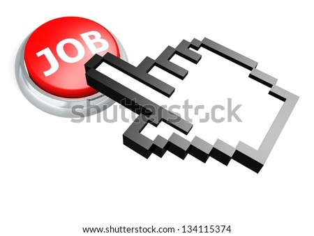 Job button with hand - stock photo