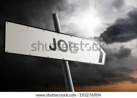 Job direction. Traffic sign with cloudy sky in the background. - stock photo