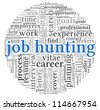 Job hunting concept in word tag cloud on white background - stock photo