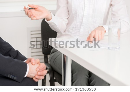 Job interview. Businesswoman conducting job interview in brightly office - stock photo