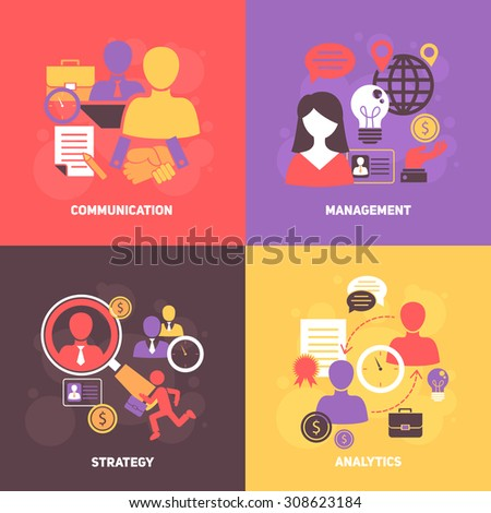 Job interview flat icons set with communication management strategy analytics isolated  illustration - stock photo