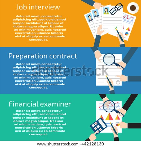 Job interview, Preparation business, contract Financial examiner banners set - stock photo