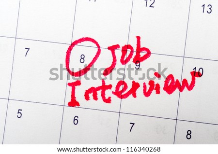 Job interview words written on the calendar - stock photo