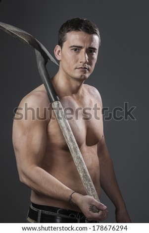 Job, Male worker holding a shovel, sexy builder - stock photo