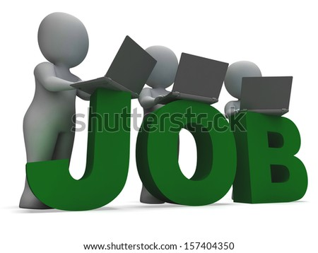 Job Online Showing Web Employment Search For Vacancy - stock photo