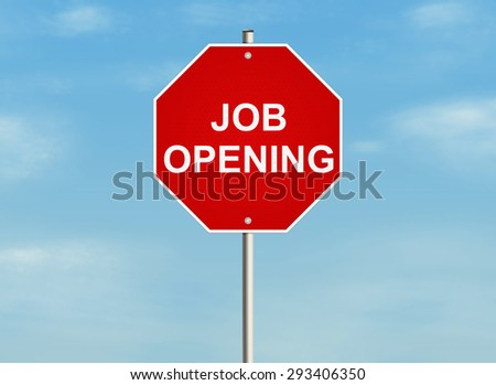 Job opening. Road sign on the sky background. Raster illustration.