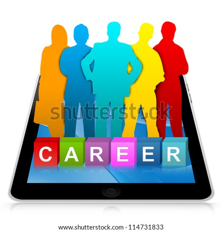 Job Opportunities Concept Present By Tablet PC With Colorful Career Cube Box And Colorful Candidate Isolated on White Background