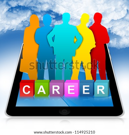Job Opportunities Concept Present By Tablet PC With Colorful Career Cube Box And Colorful Candidate in Blue Sky Background - stock photo