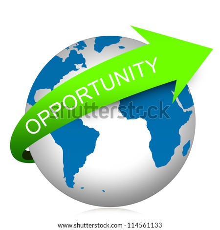 Job Opportunity Concept Present By Green Opportunity Arrow On The Blue Globe Isolated On White Background