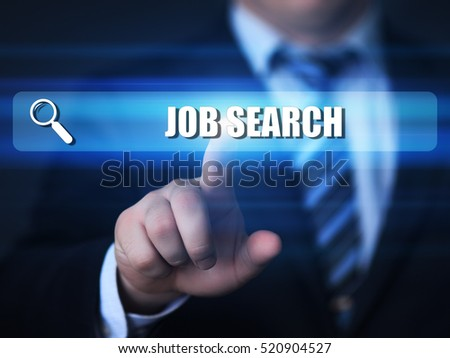 job search, employment, career, business, technology and internet concept. text in search bar.