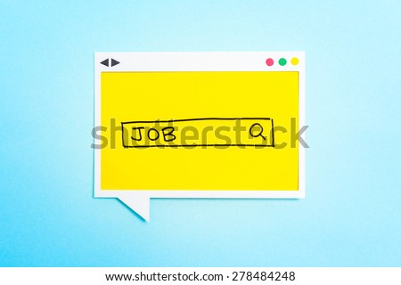 Job search form on speech bubble on blue background. - stock photo