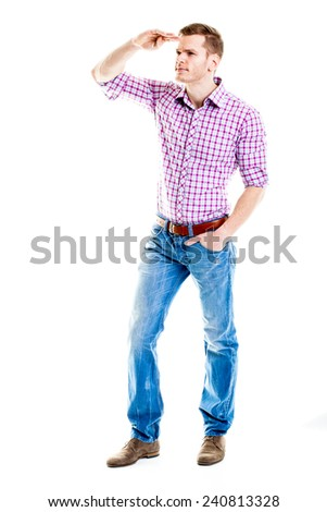 Job Search - Full body shot of young man looking for jobs isolated on white - stock photo