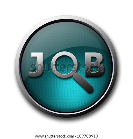 Job search glossy button isolated on white background - stock photo