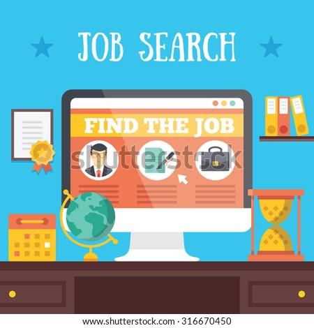 Job search illustration. Job hunting, job seeking, and job searching concepts. Flat illustration - stock photo