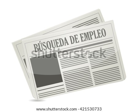 job search newspaper sign in Spanish illustration design graphic