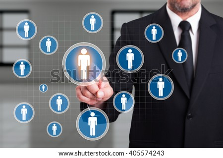 Job search or career opportunities concept with business man touching futuristic transparent display screen